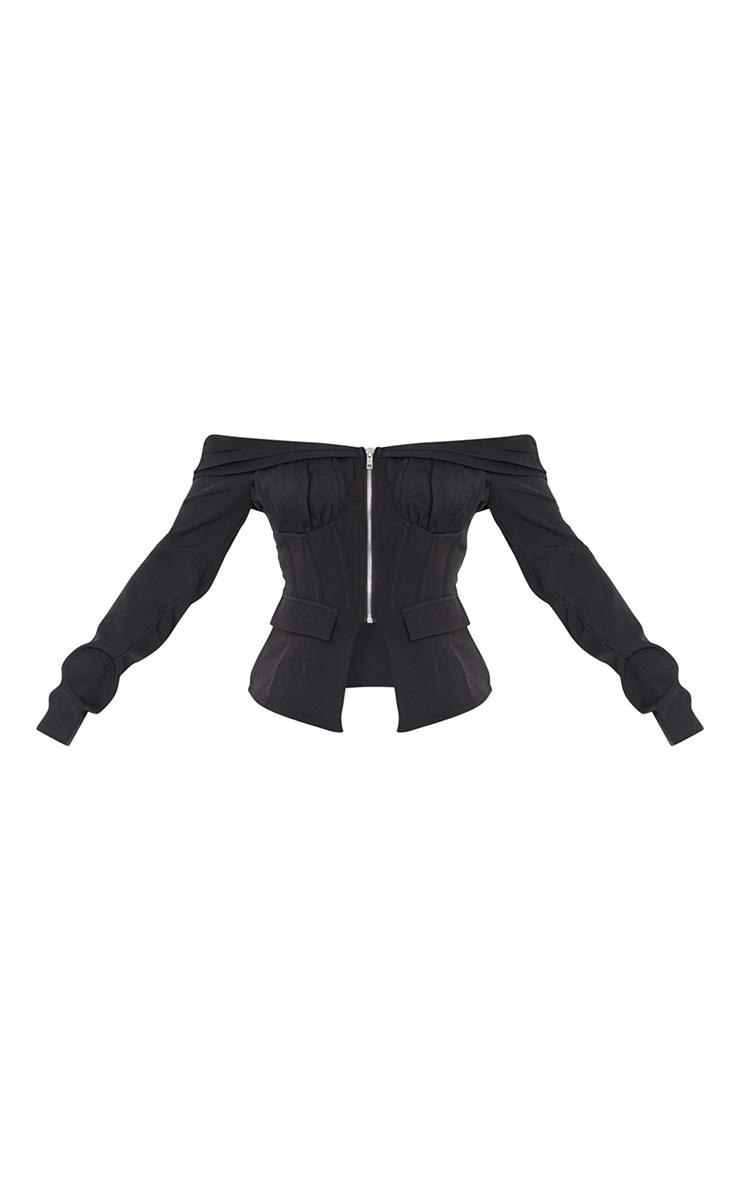 Black Woven Ruched Bardot Zip Front Long Top 5