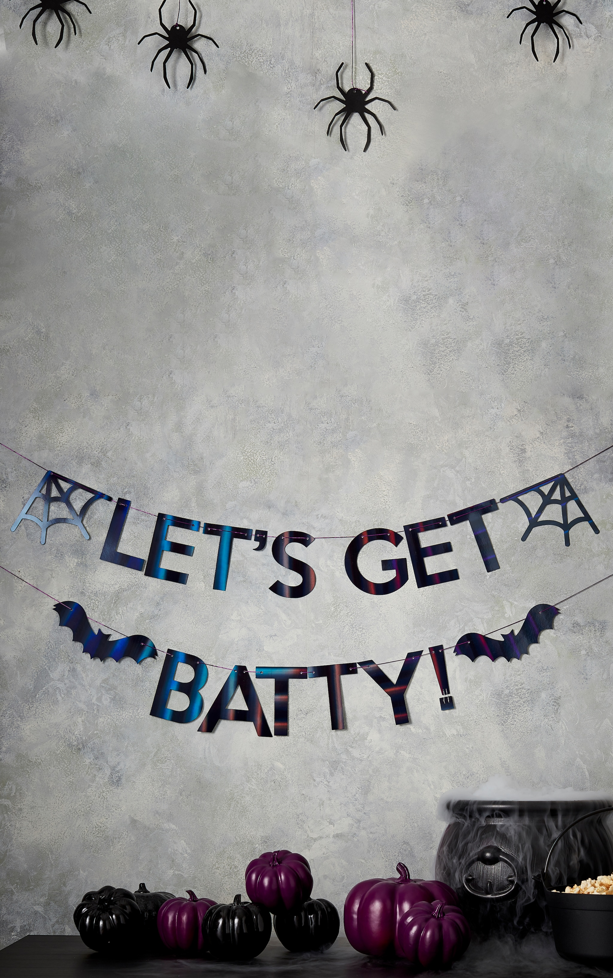 Ginger Ray Bunting Let's Get Batty Iridescent Black 1