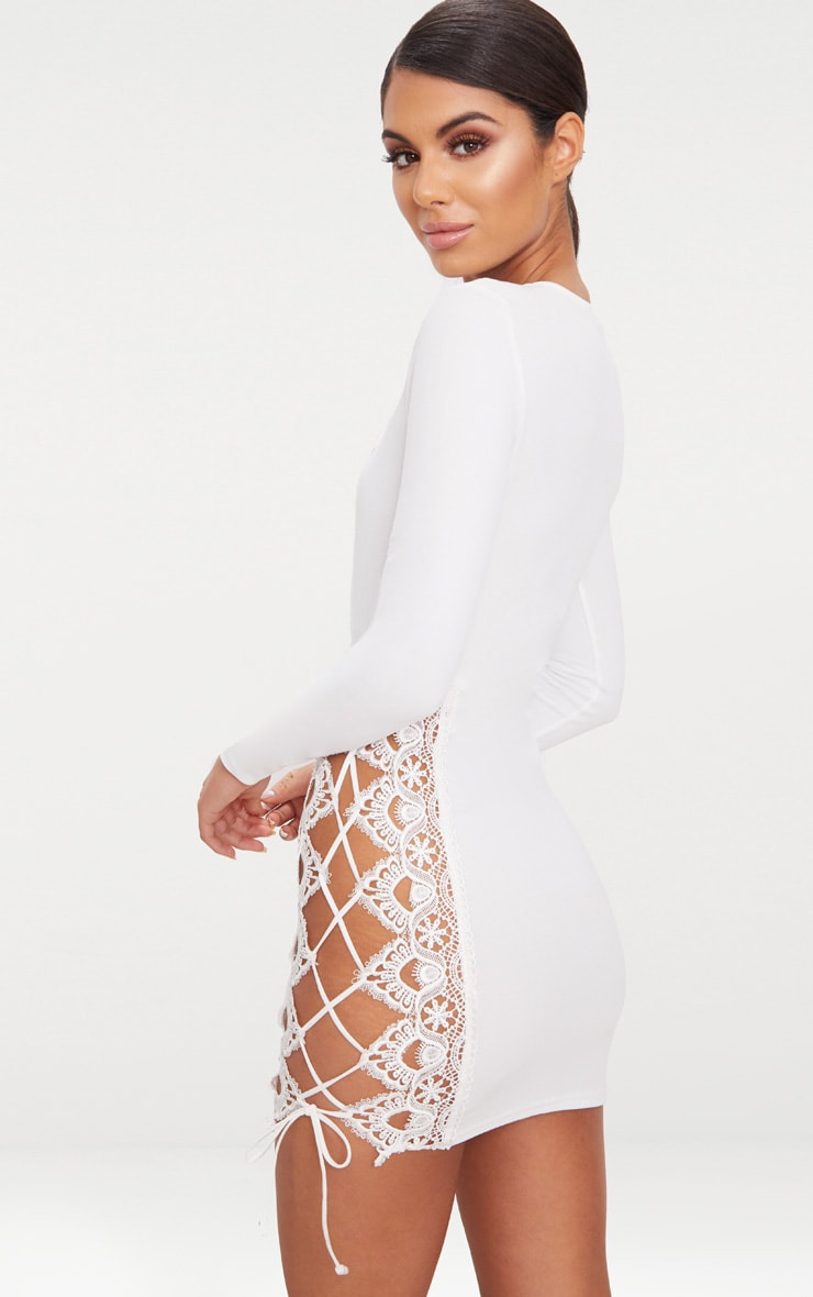 White Lace Up Side Long Sleeve Bodycon Dress 2