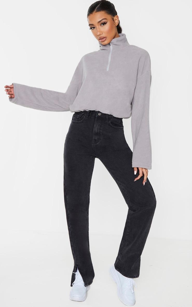 Charcoal Grey Zip Front Crop Fleece Sweater 3