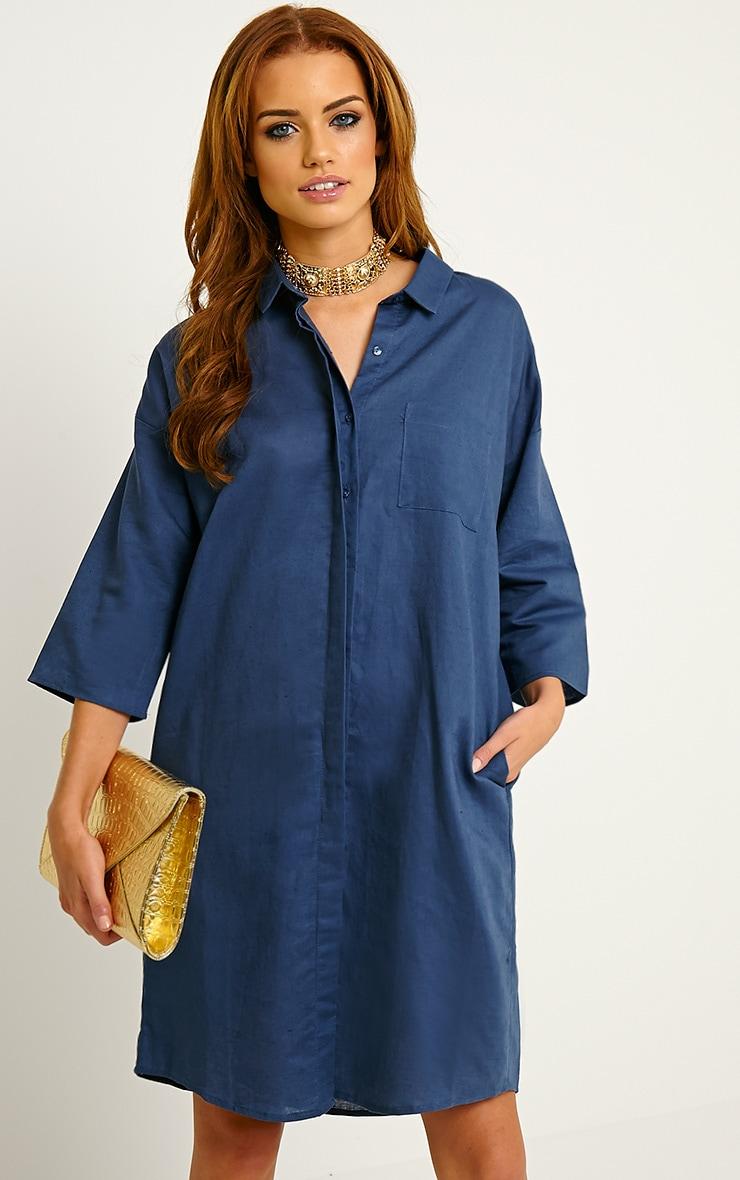 Franca Blue Oversized Shirt Dress 4