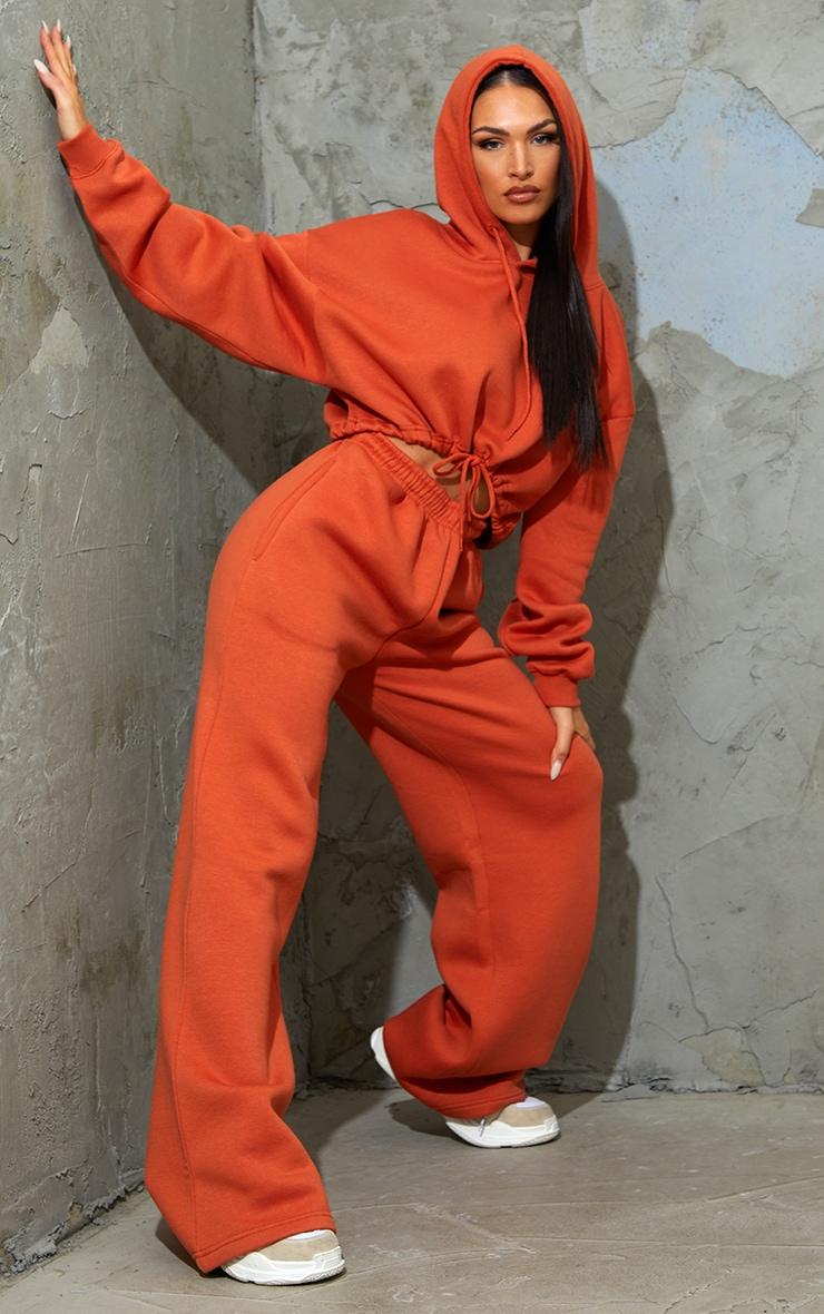 Burnt Orange Tie Elasticated Hem Cropped Hoodie 3