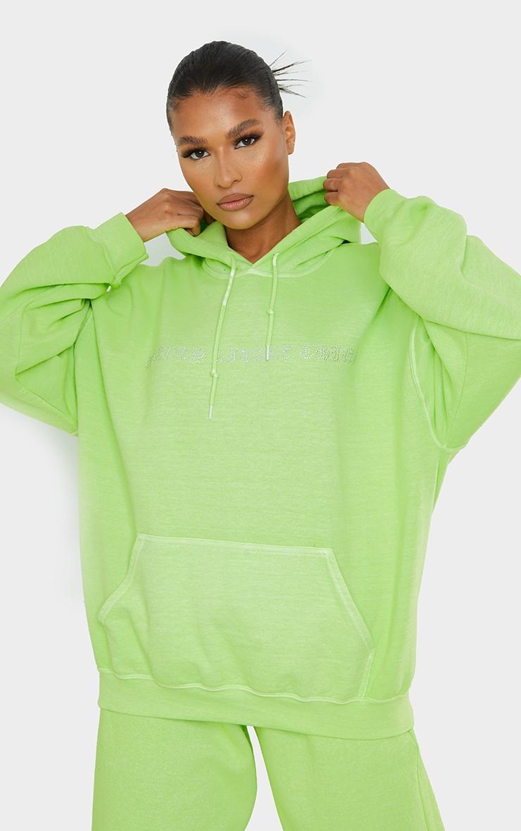 PRETTYLITTLETHING Lime Diamante Slogan Hoodie 1