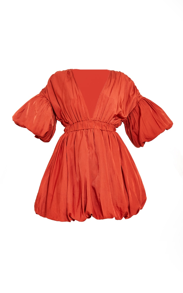 Terracotta Puff Sleeve Puffball Hem Shift Dress 5