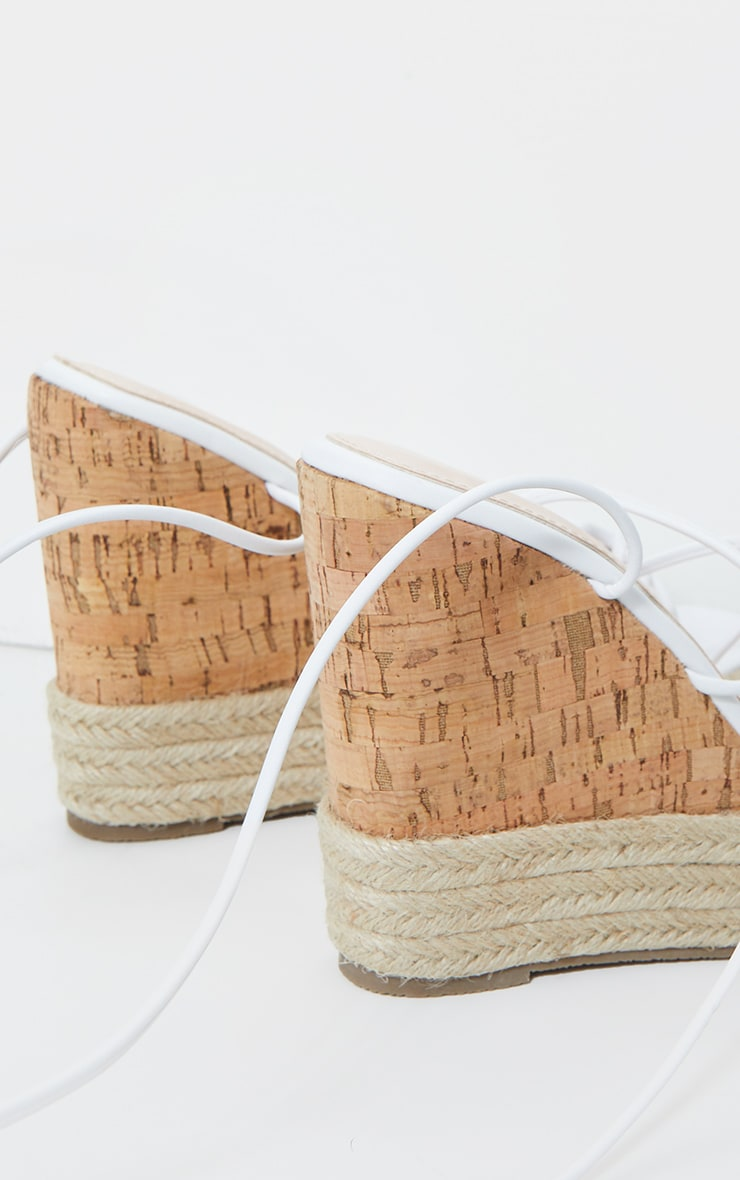 White Toe Thong Strappy Espadrille Wedges 3