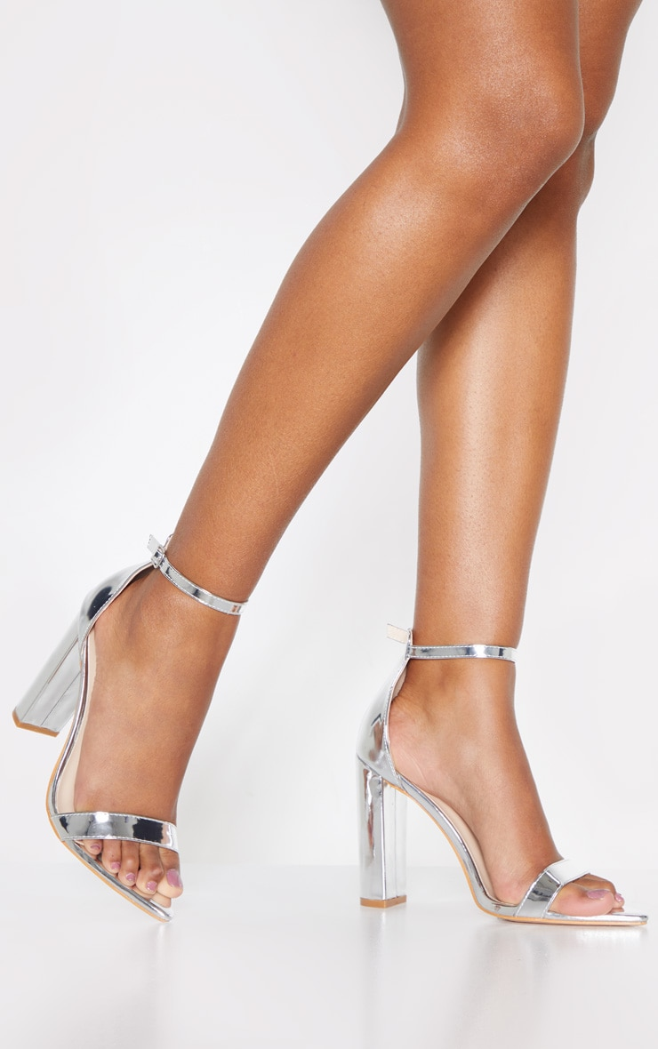 Silver Point Toe Block Heel Strappy Sandal 1