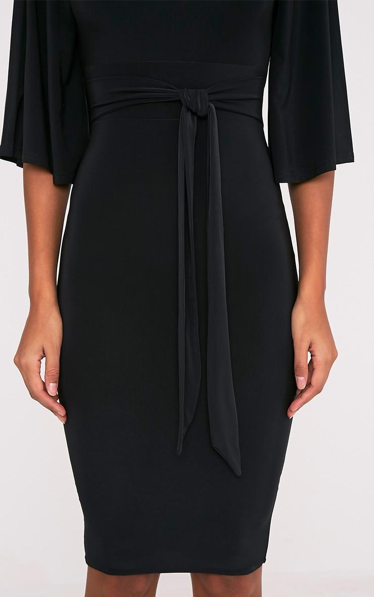 Hasnae robe midi kimono moulante noire à dos ouvert 6
