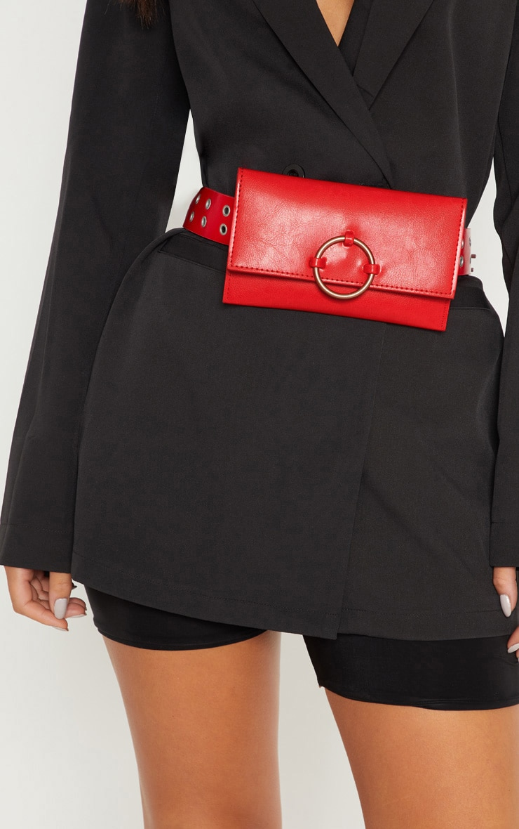 Red Eyelet Ring Belted Bum Bag