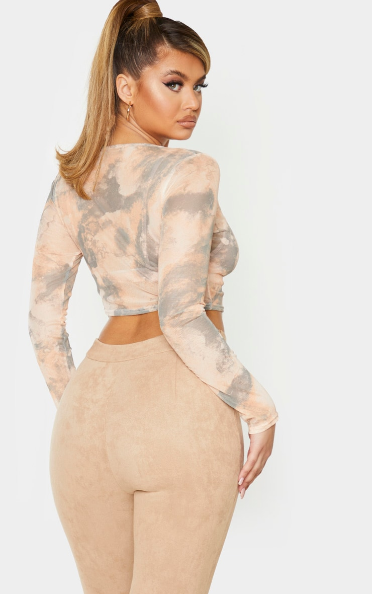 Stone Marble Print Long Sleeve Ruched Mesh Crop Top 3