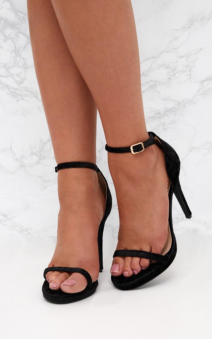 Black Velvet Single Strap Heeled Sandals 2