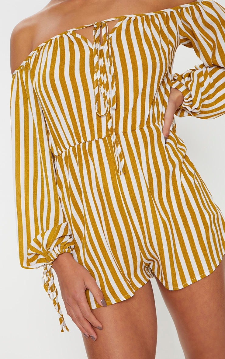 Petite Chartreuse Striped Bardot Playsuit 5
