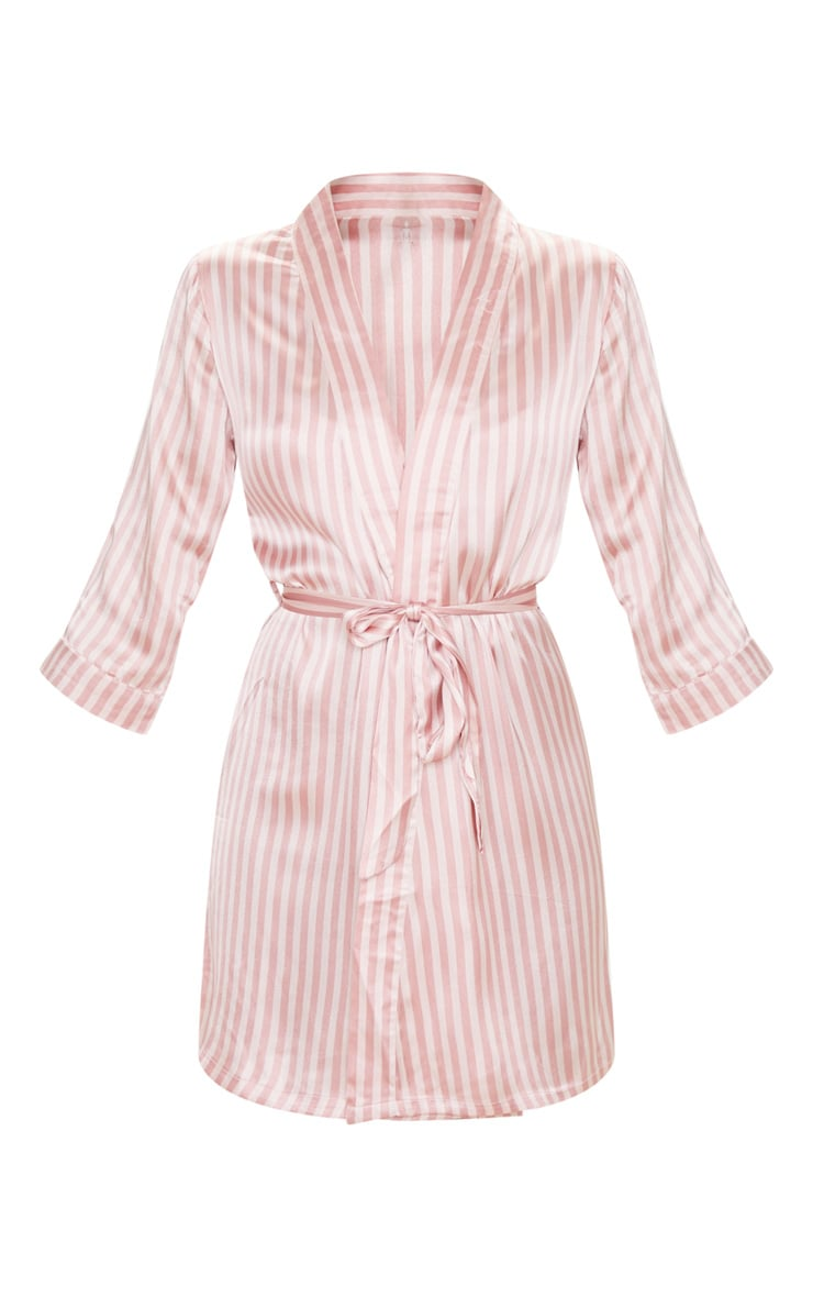 Baby Pink Stripe Satin Robe 3
