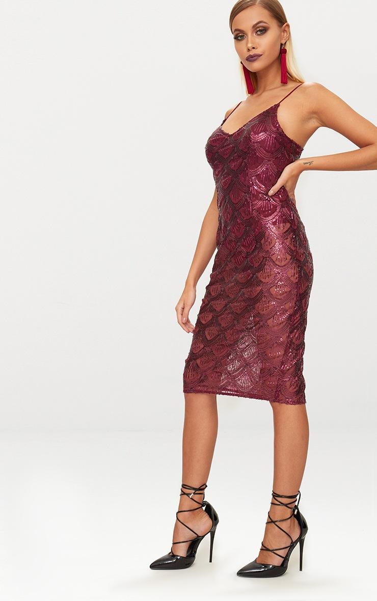 Burgundy Sequin Mesh Plunge Bodycon Midi Dress 4