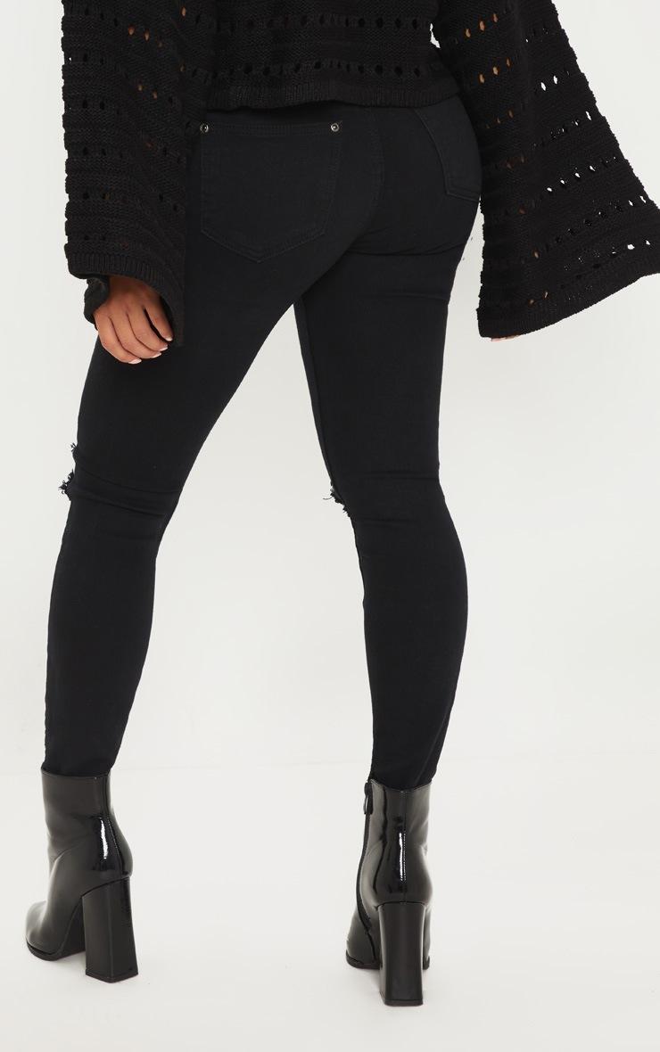 Petite Black Knee Rip Slim Jean 4