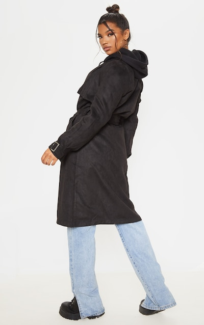 Black Faux Suede Trench