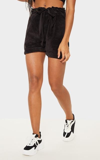 Black Velour Drawstring Shorts