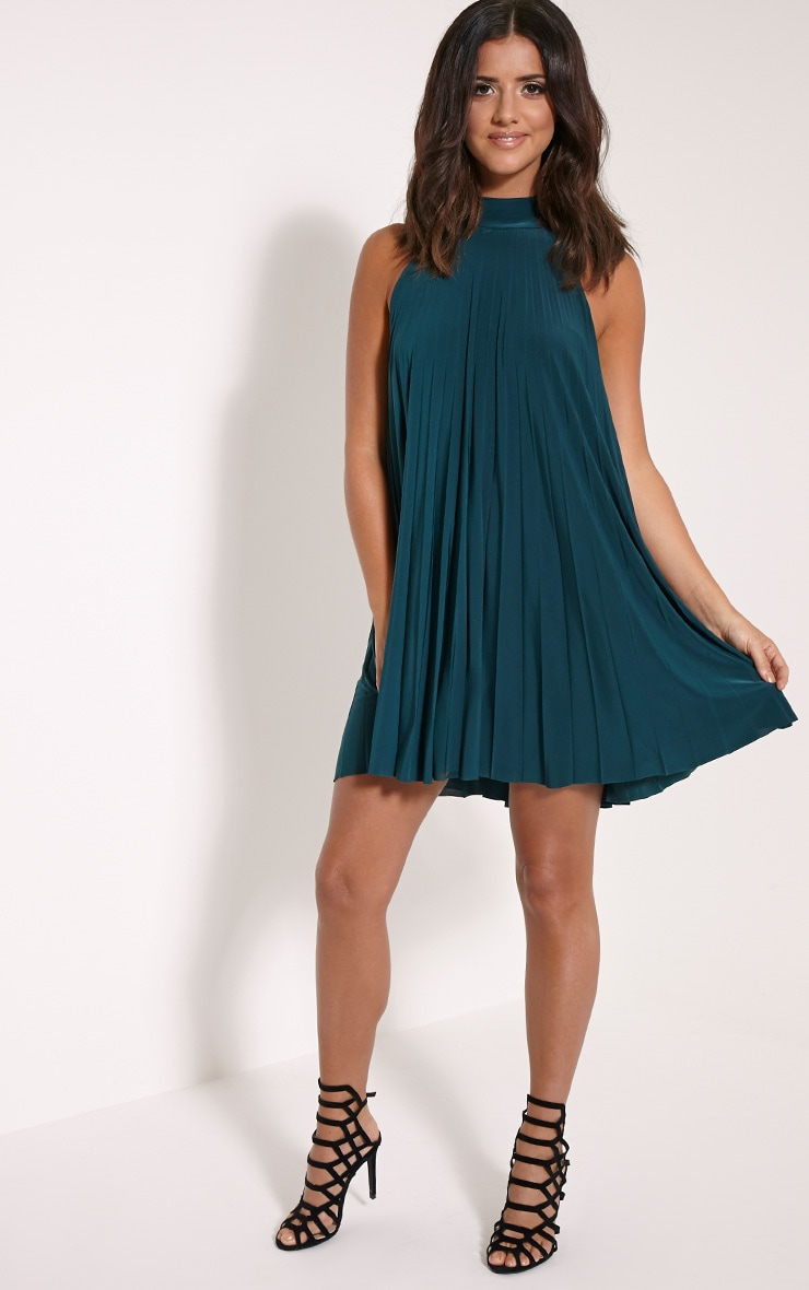 Linzi Bottle Green Pleat Tie Neck Mini Dress 4