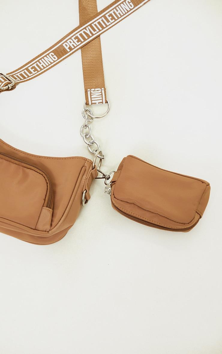 PRETTYLITTLETHING Mocha Multi Pocket Chain Cross Body Bag 3