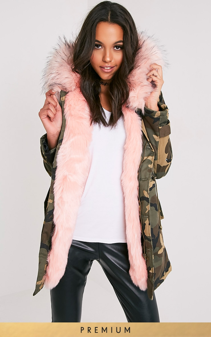 Fliss Baby Pink Camo Faux Fur Lined Parka 1