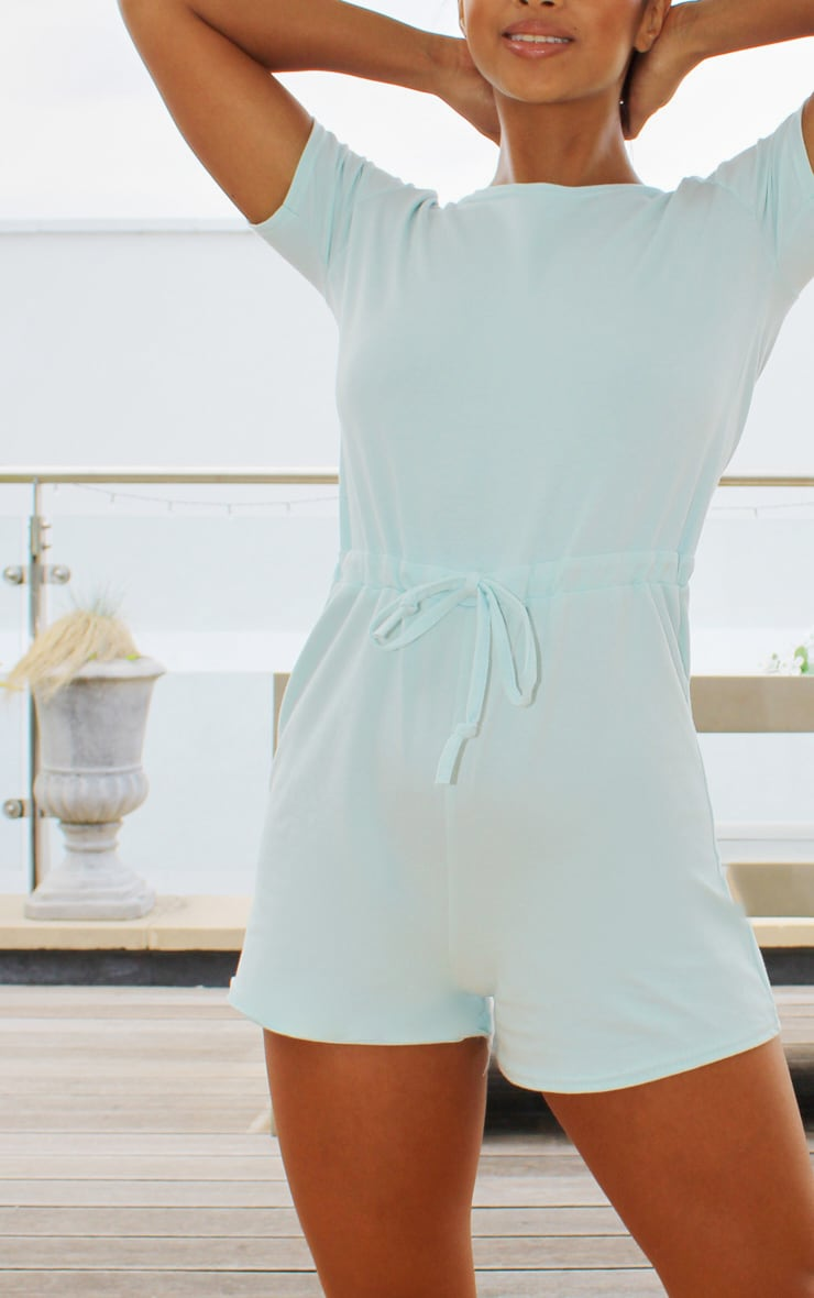 Petite Pastel Blue Cotton Elastane Short Sleeve Playsuit 4