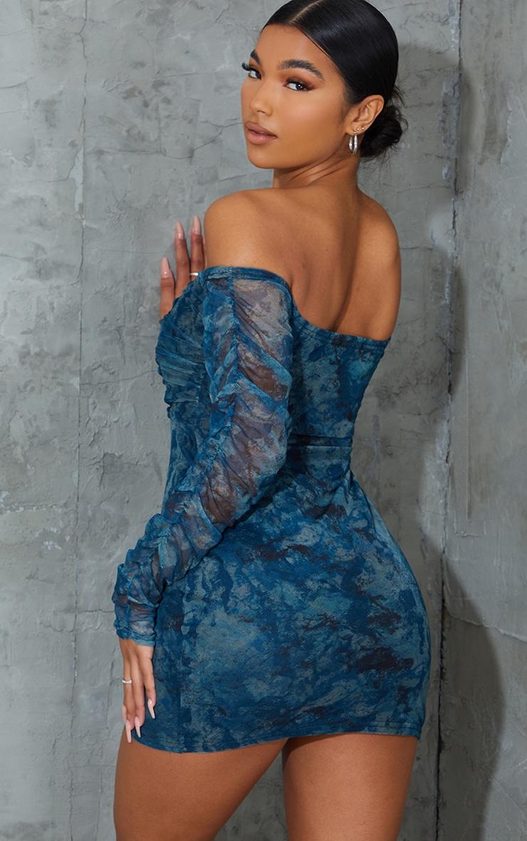 Blue Tie Dye Ruched Mesh Bardot Bodycon Dress 2