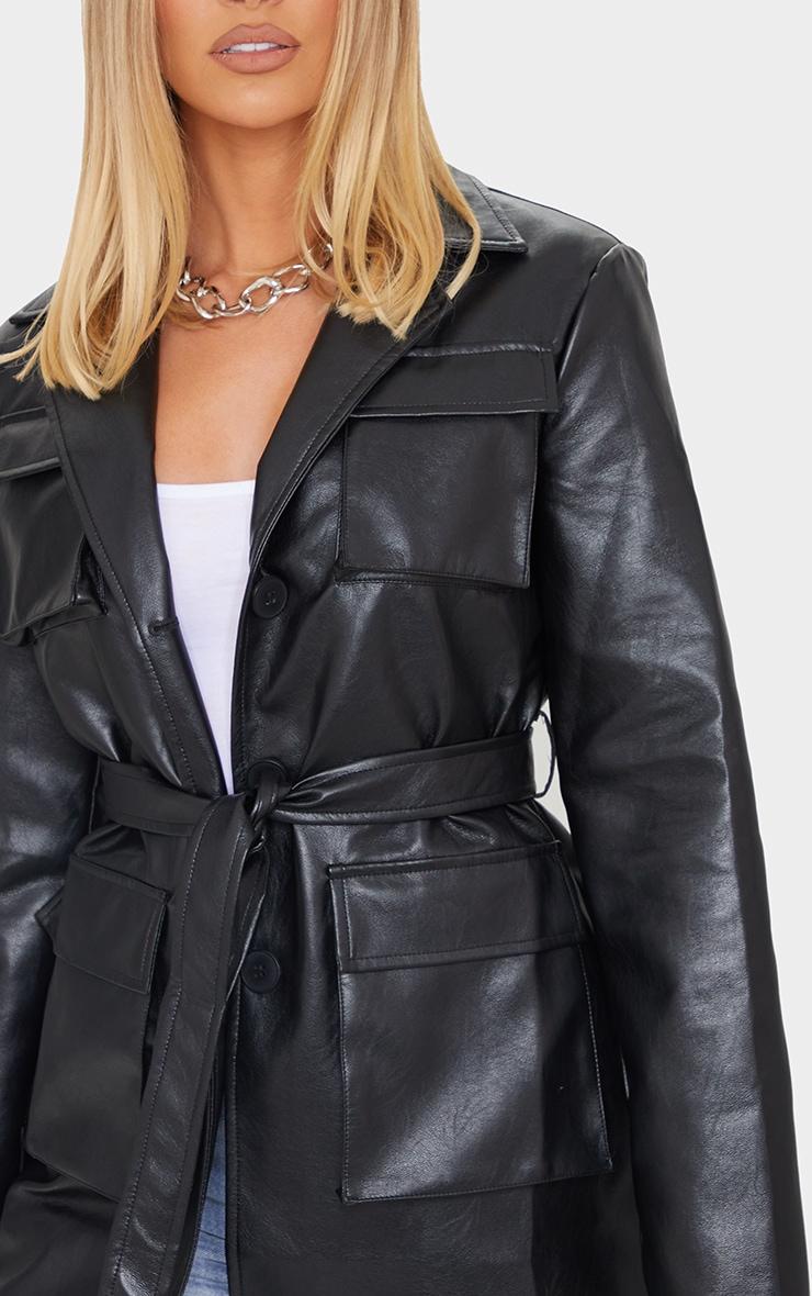 Black PU Longline Pocket Front Jacket 4