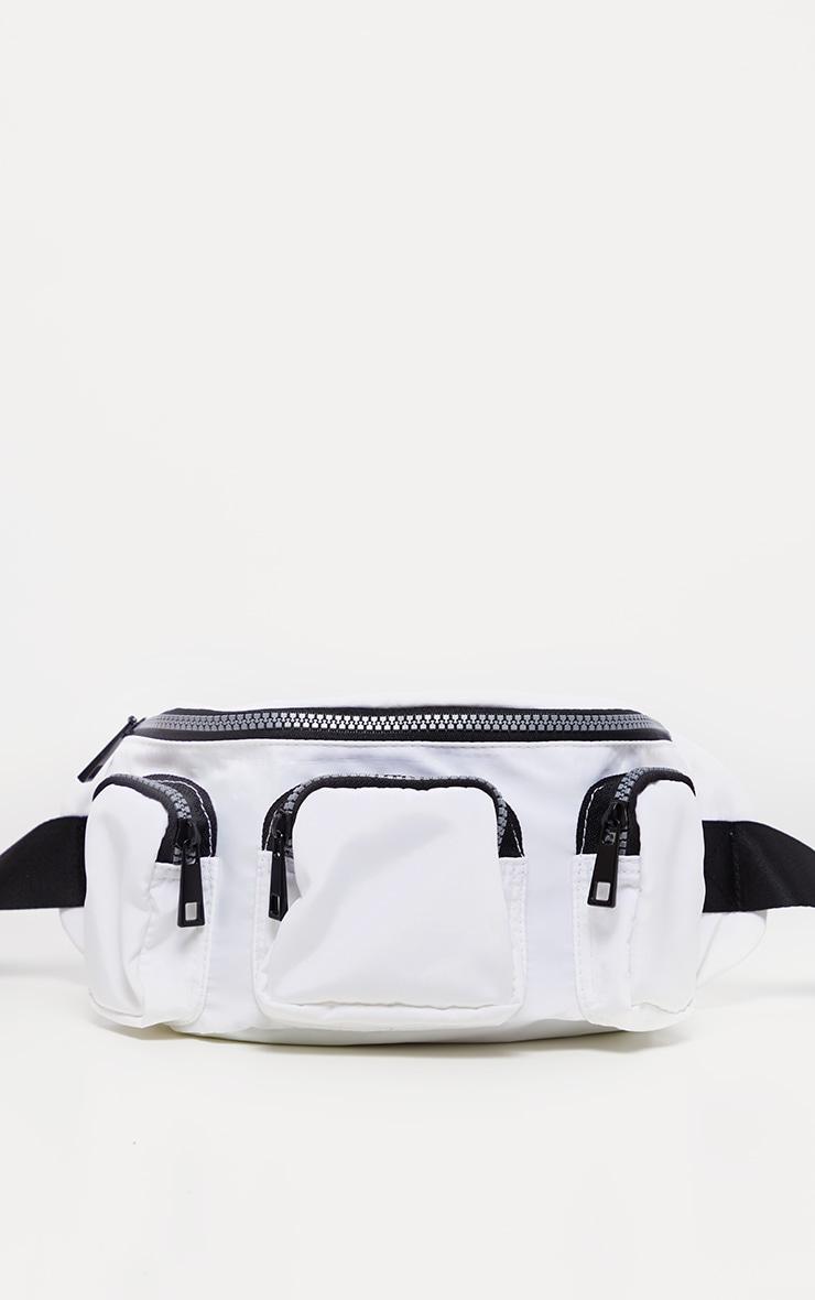 White Pocketed Nylon Bum Bag 2