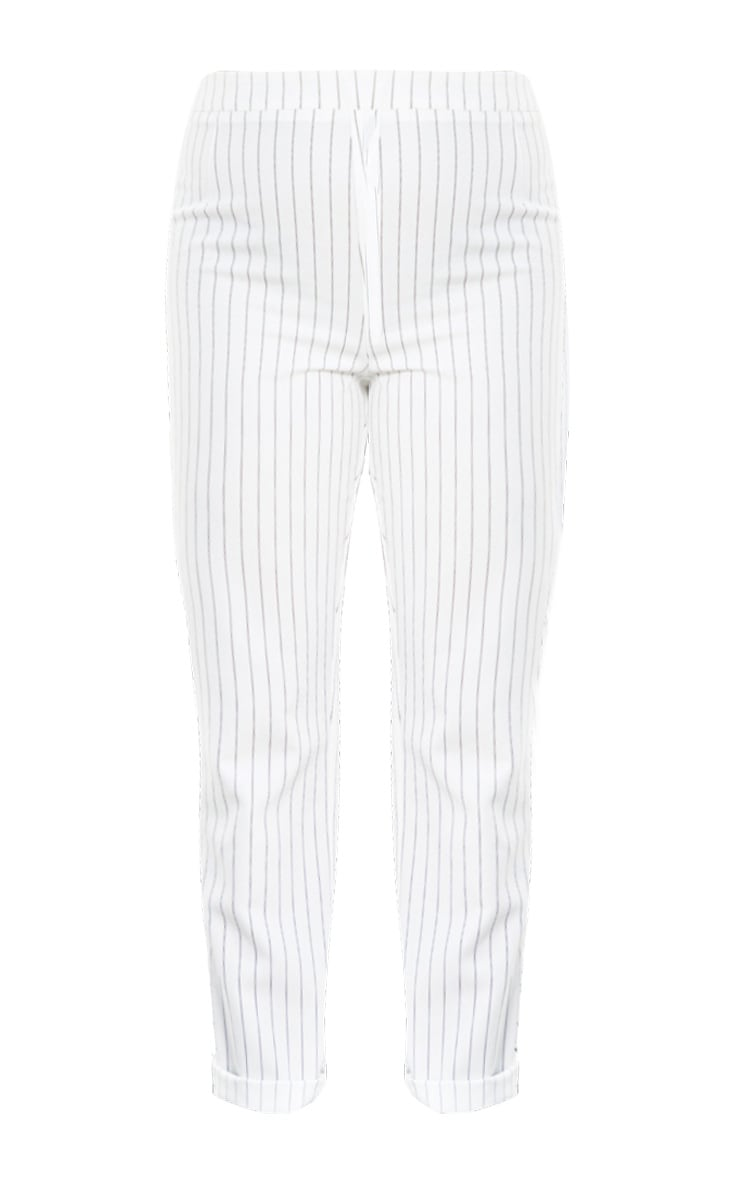 White Pinstripe High Waisted Straight Leg Pants 3