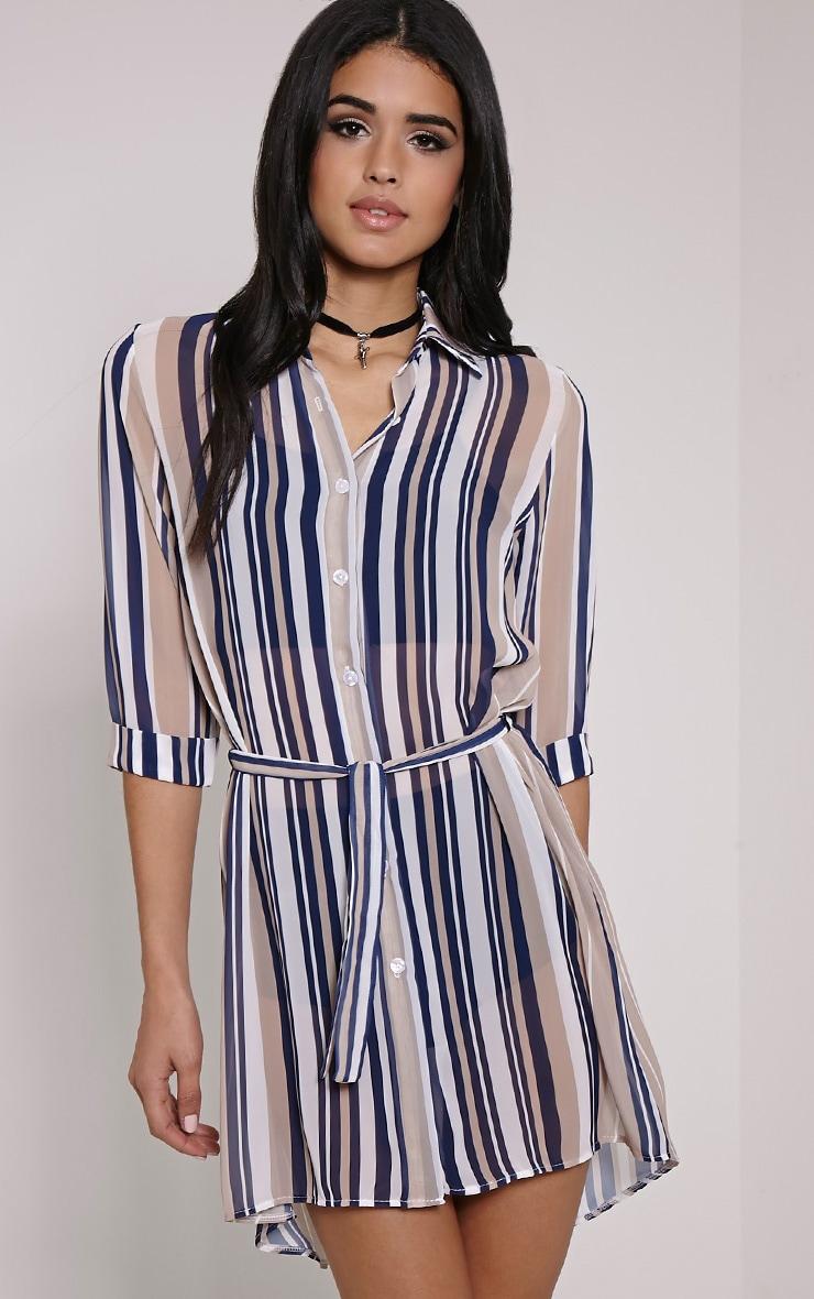 Mara Beige Stripe Shirt Dress 1
