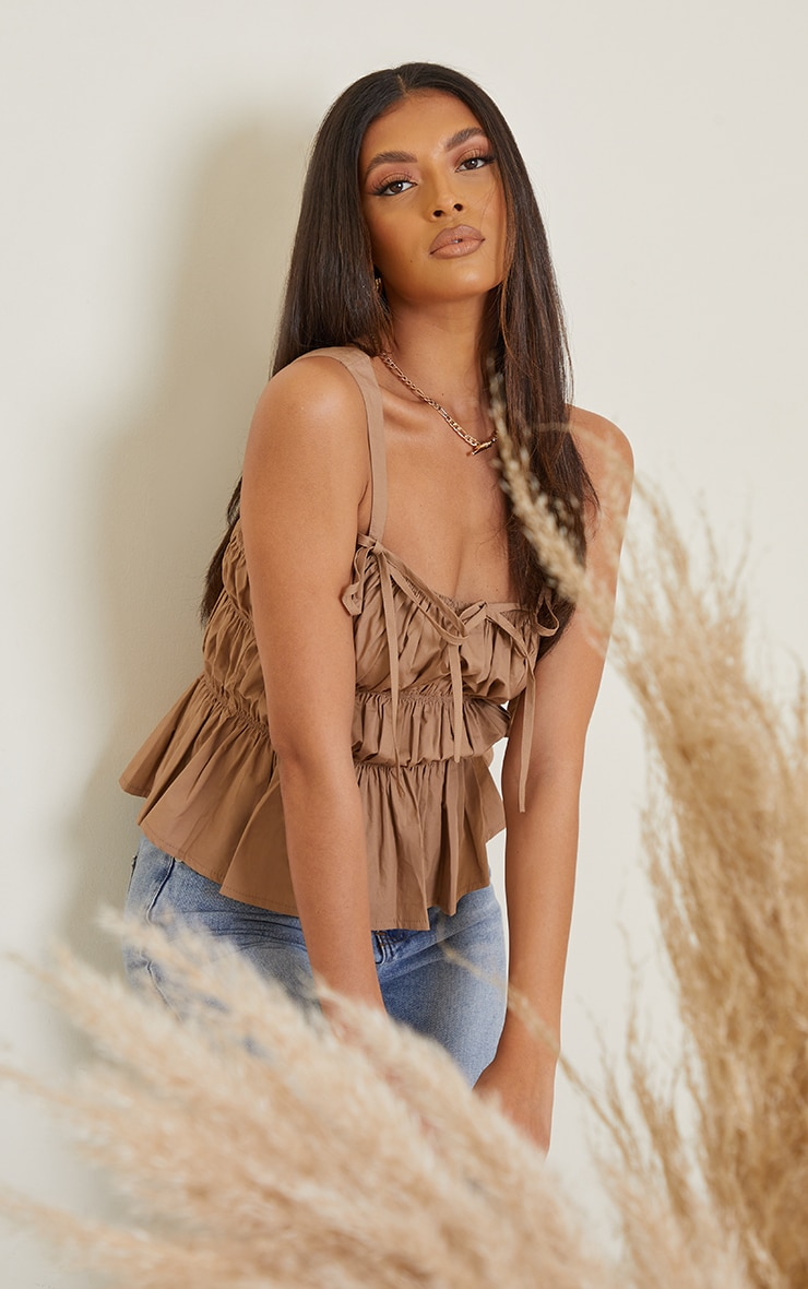 Camel Woven Extreme Ruched Tie Detail Frill Hem Top 1