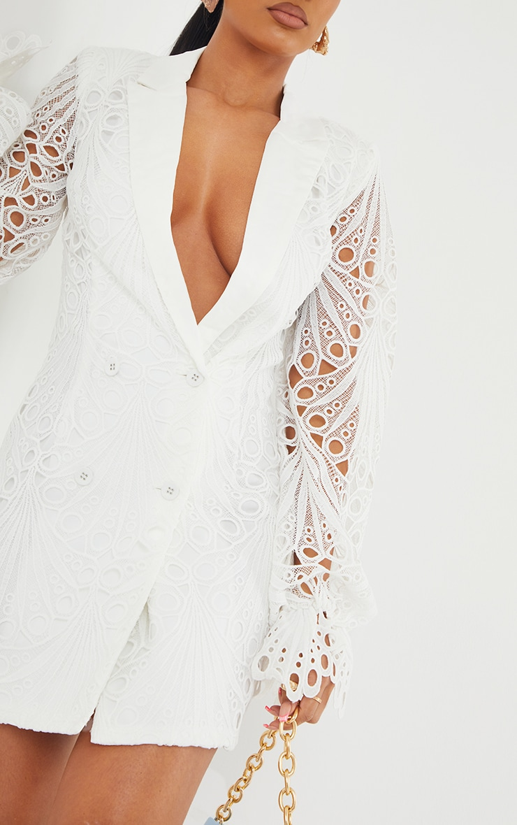 White Thick Lace Frill Sleeve Blazer Dress 4