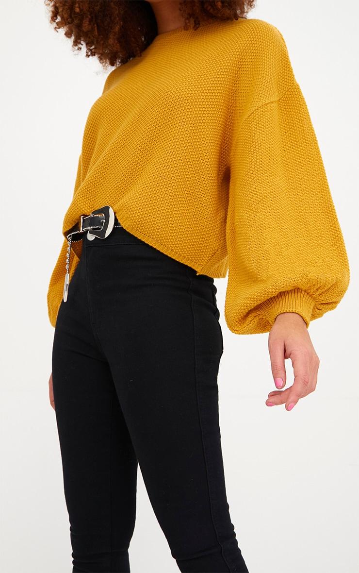 Mustard Balloon Sleeve Knitted Jumper 5