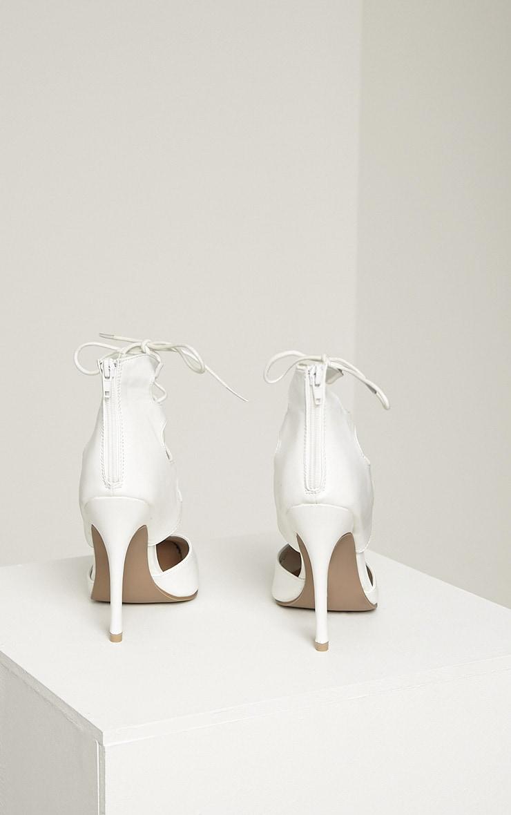 Lydia White PU Lace Up Heeled Sandals 8