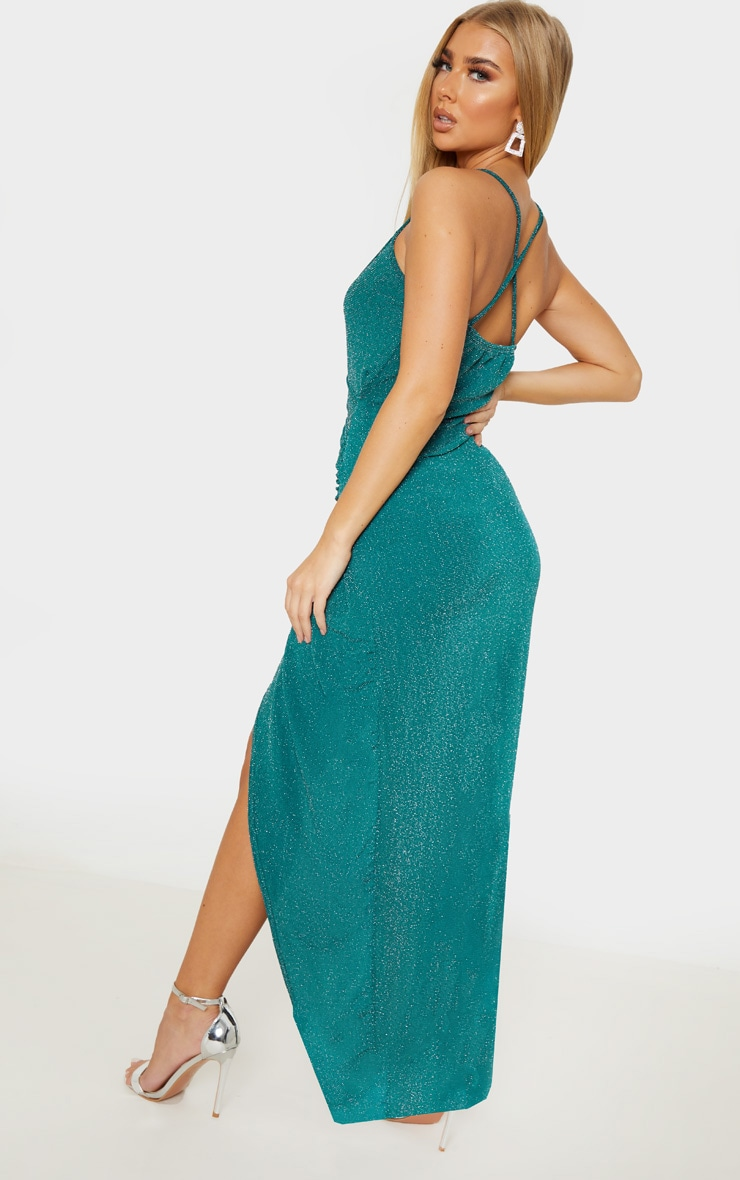 Emerald Green Strappy Textured Glitter Plunge Ruched Maxi Dress 2