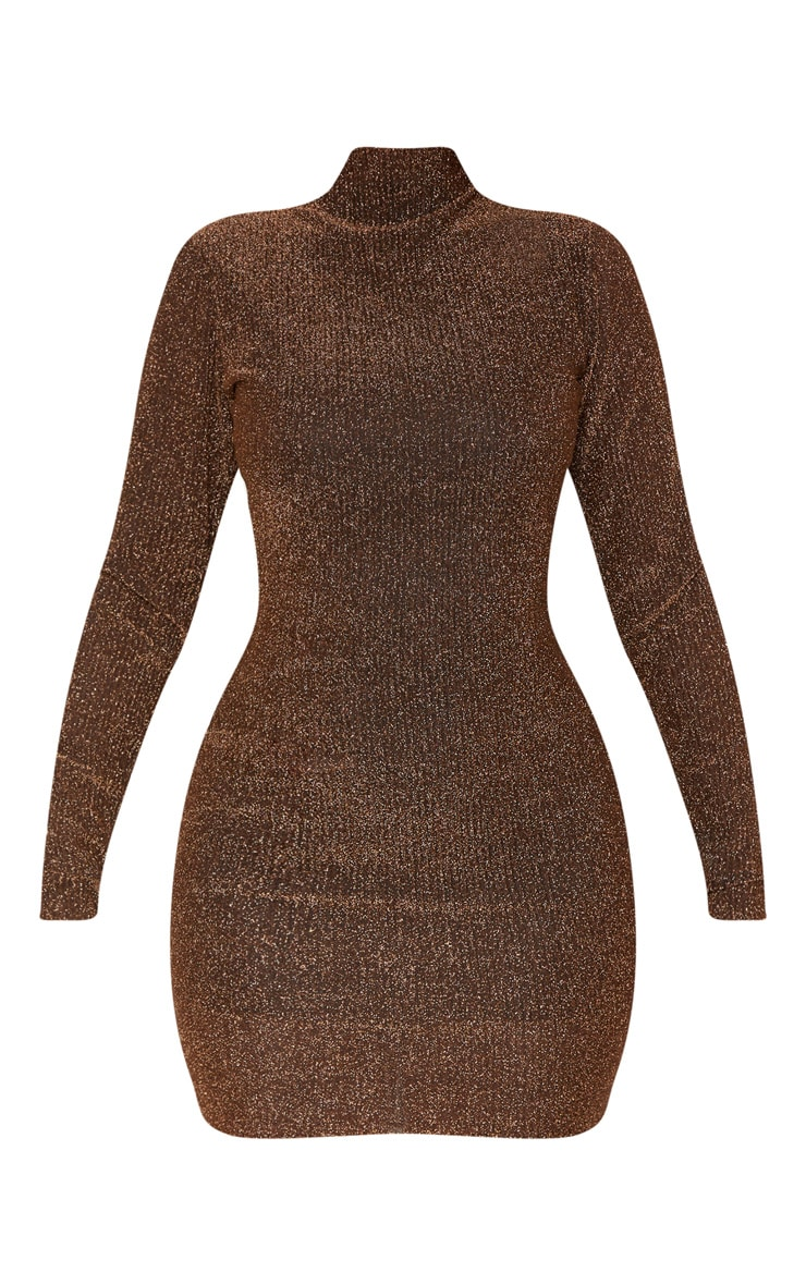 Bronze Textured Glitter High Neck Long Sleeve Bodycon Dress 4