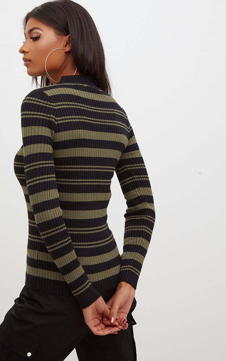 Black Stripe Knitted Jumper 2