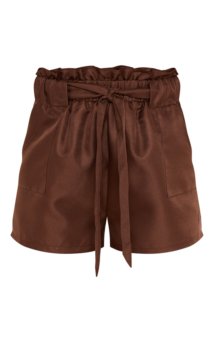 Chocolate Tailored Ruched Tie Waist Short 3