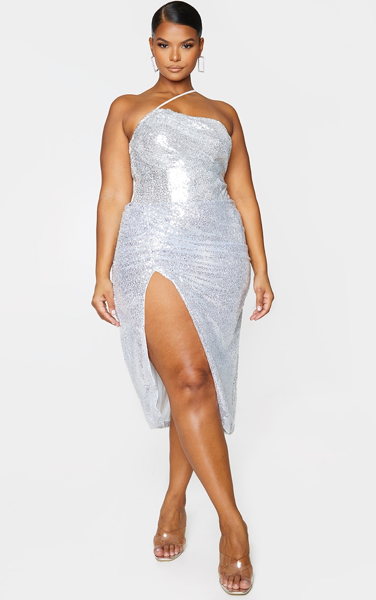 Plus Silver Sequin Strap Detail Ruched Side Midi Dress 4