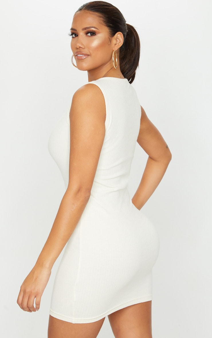 Shape Cream Thick Rib Popper Detail Sleeveless Bodycon Dress 2