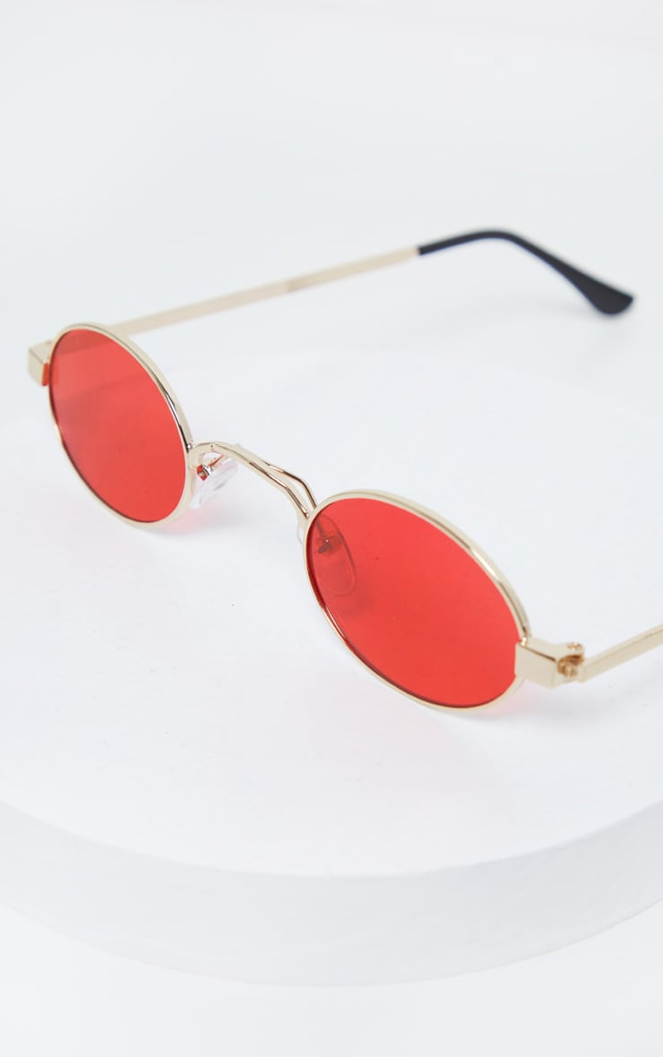 Red Small Squashed Round Lens Sunglasses  2