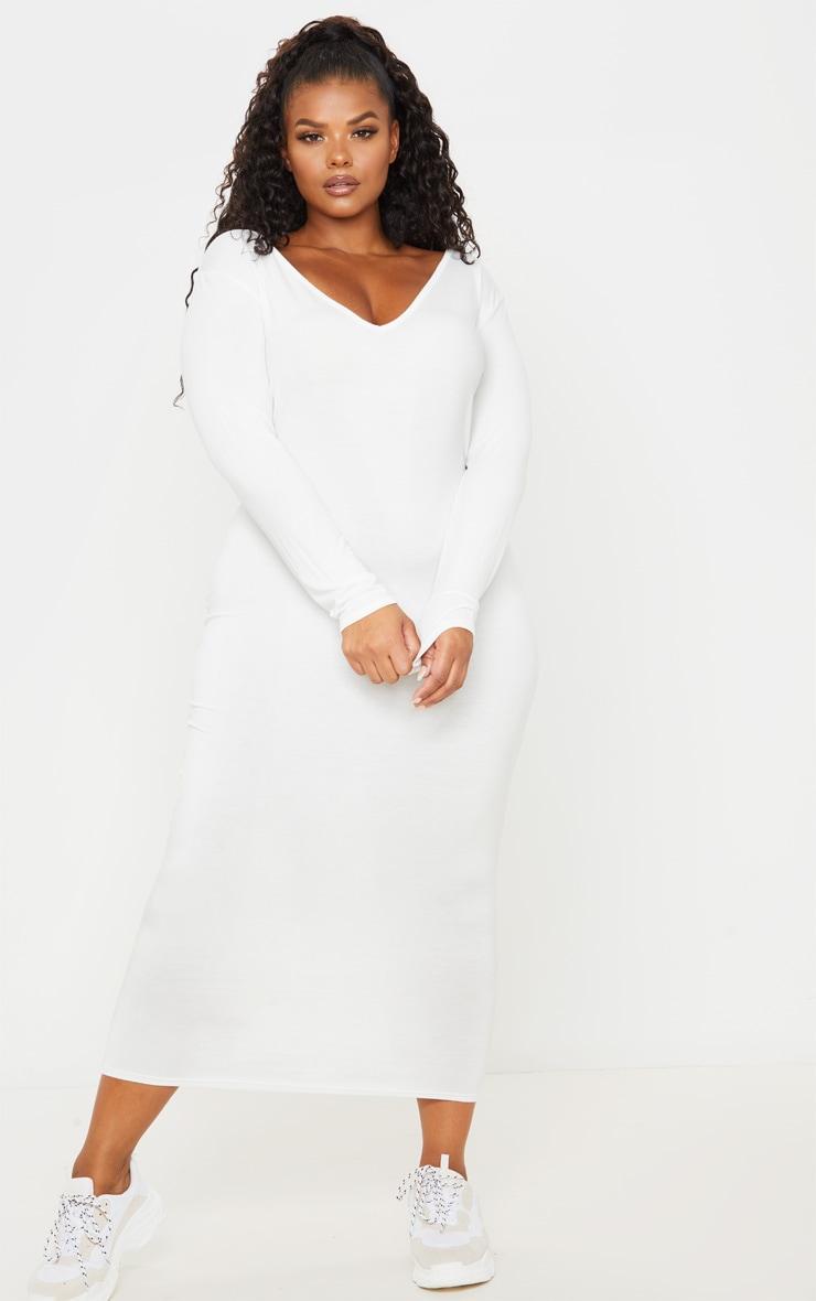Plus Cream Jersey V Neck Long Sleeved Midi Dress 4