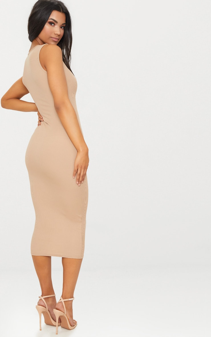 Basic Stone Ribbed Midi Dress 2