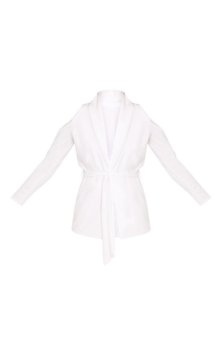 Orabelle White Cold Shoulder Belted Blazer 3