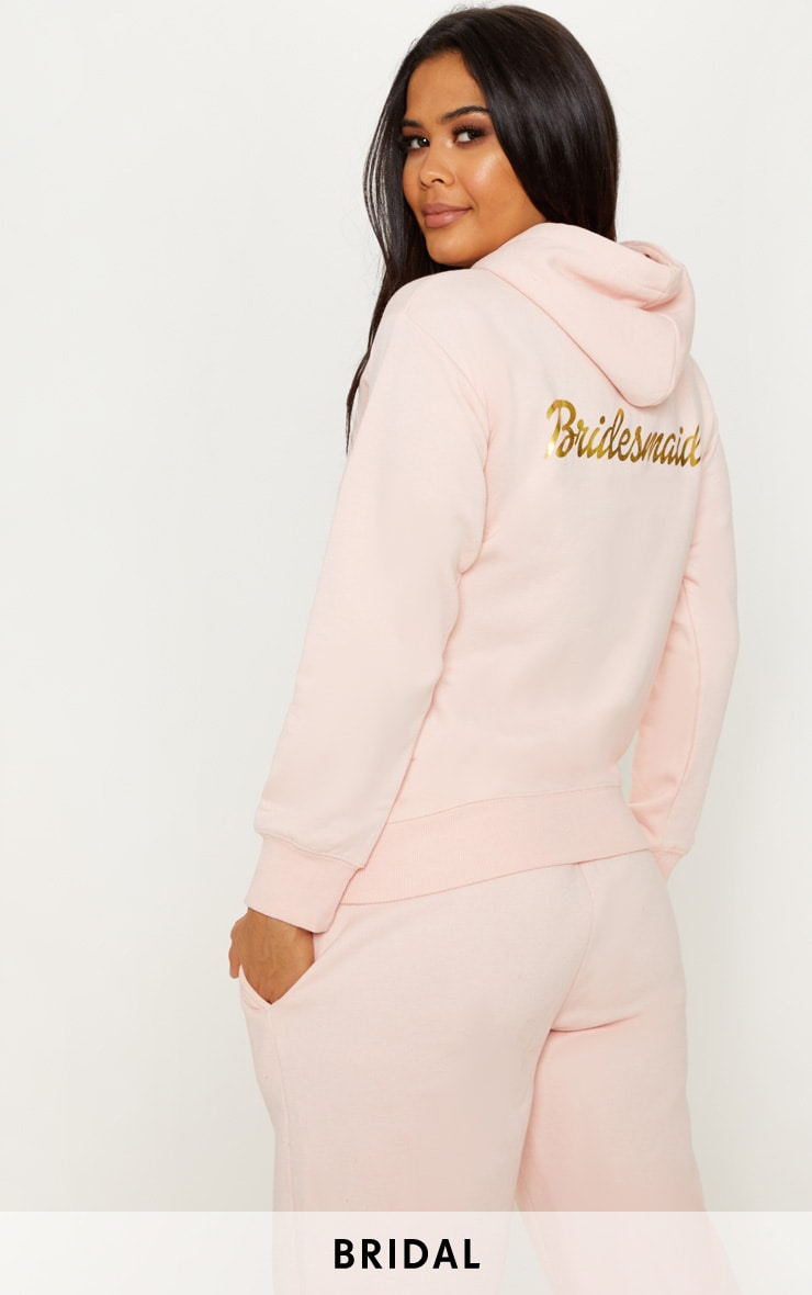 Blush Bridesmaid Slogan Oversized Hoodie