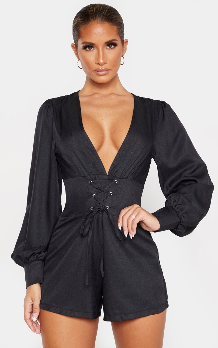 Black Lace Up Long Sleeve Romper 1
