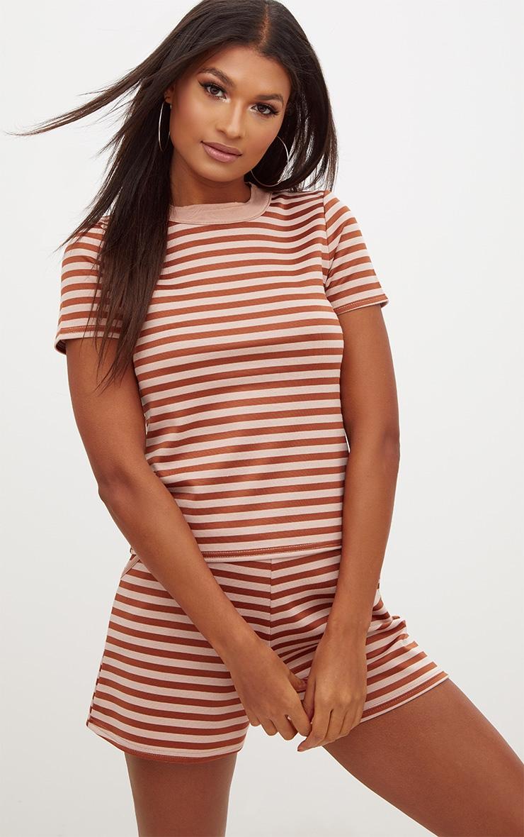 Bronze Scuba Stripe Boxy T Shirt 1