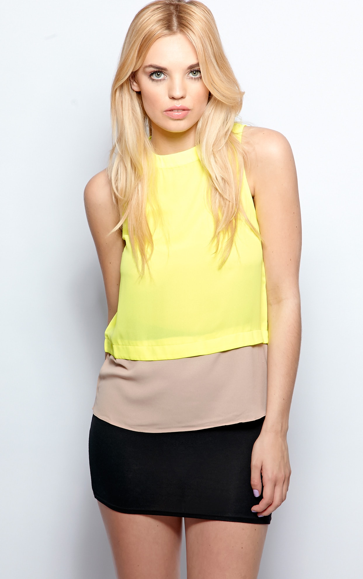 Mya Lime Panel Chiffon Vest 1