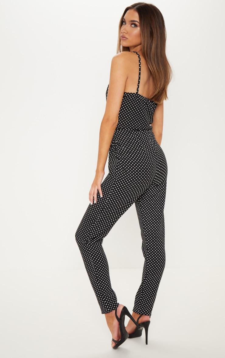 Black Polka Dot Strappy Plunge Jumpsuit 2