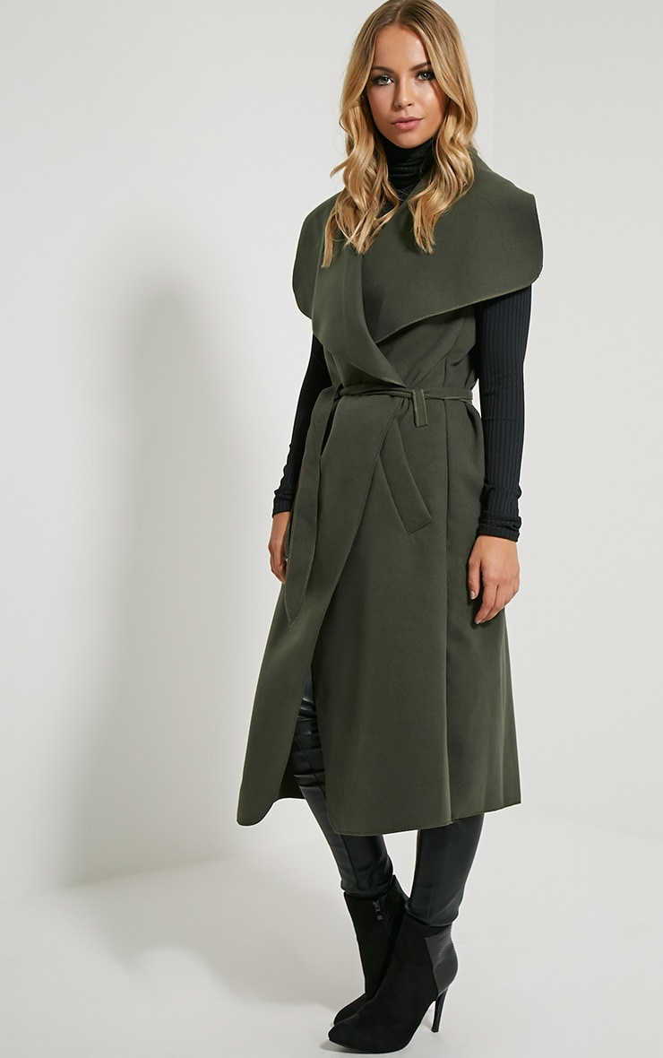 Valerie Dark Khaki Sleeveless Waterfall Coat 5