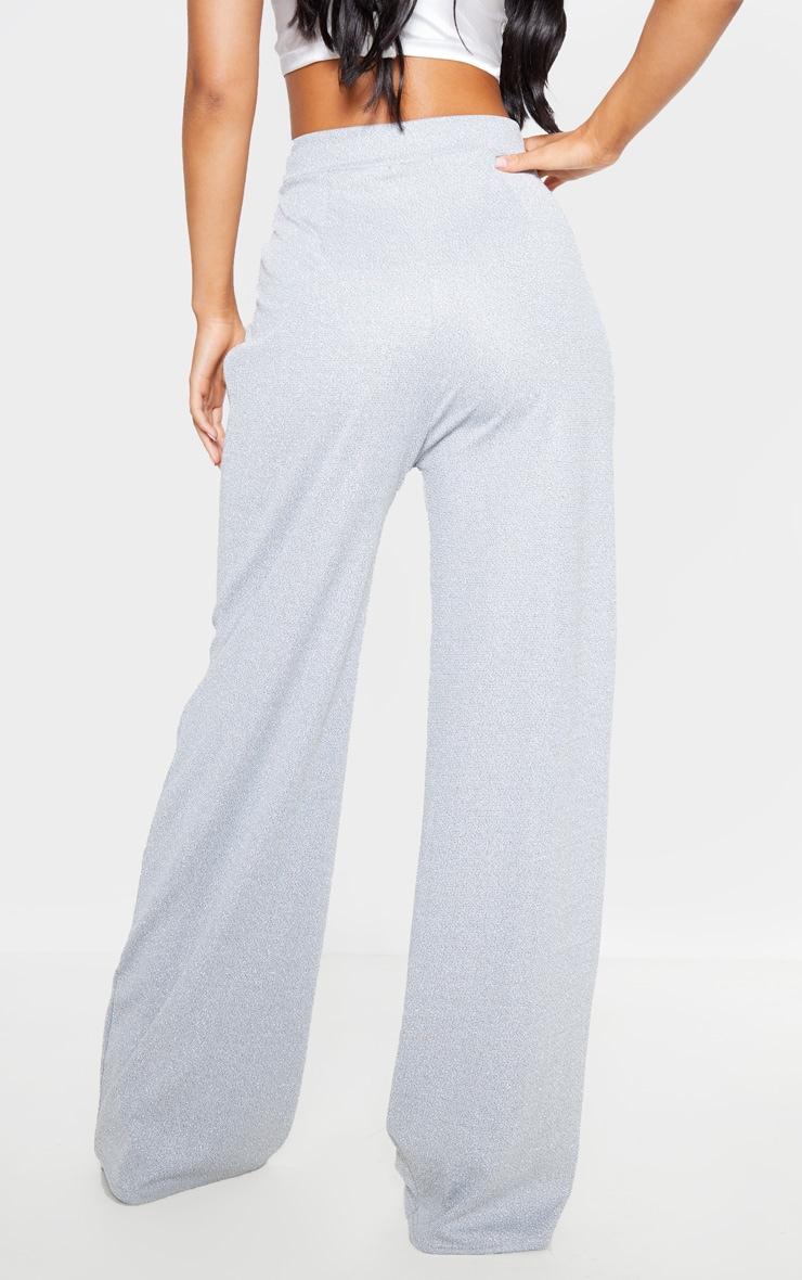 Silver Glitter High Waisted Wide Leg Pants 4
